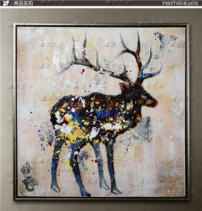 西画 油画风景 > 现代家居装饰画纯手工油画客厅挂画壁画彩色麋鹿油画