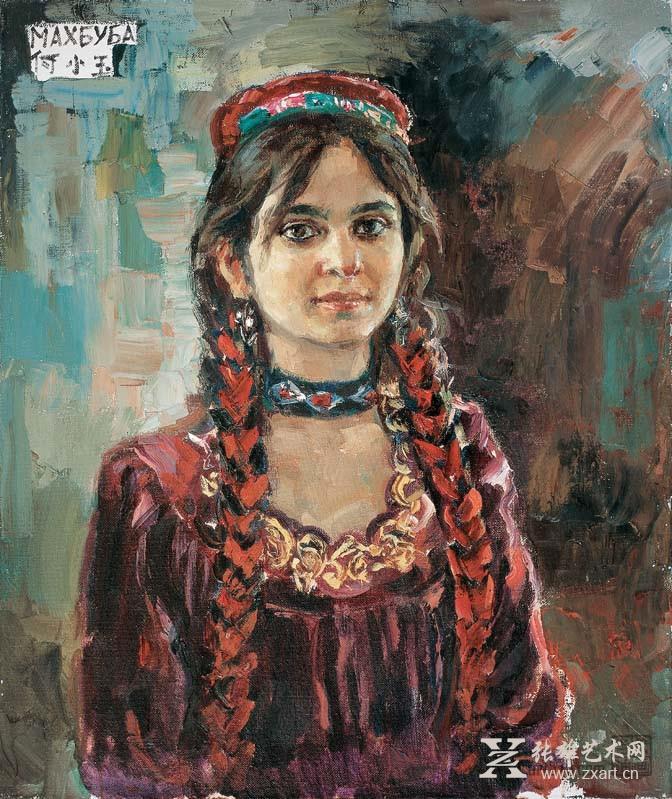 > 《塔吉克斯坦学生》布面油画